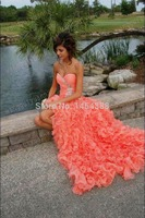 free shipping 2019 new A line Sweetheart Ruffles real pictures handmade beading lace up Long Coral Prom Dresses with train