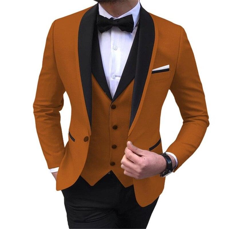Men's Suit 3 Pieces Casual Shawl Lapel Brown White Costume Homme for Wedding Tuxedos Groomsmen (Blazer+Vest+Pant) - 4