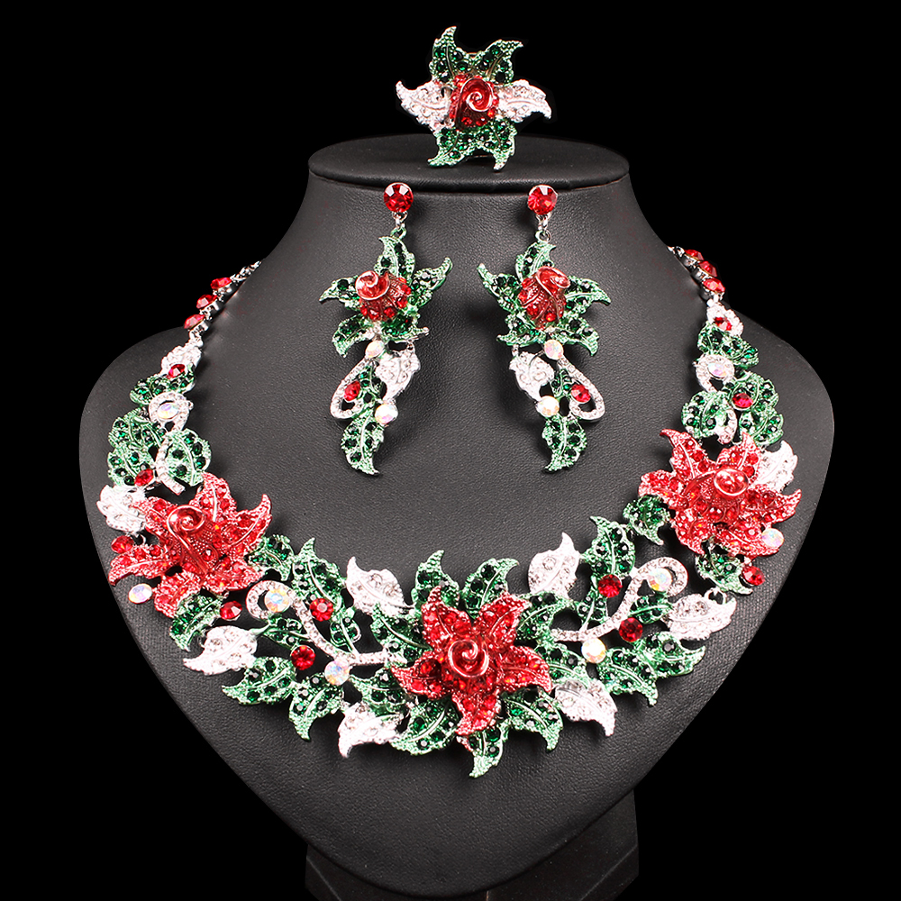 Luxury Flowers Statement Necklace Earrings Ring Silver Plated Indian Party Wedding Costume Jewelry Sets Christmas Gift For Women