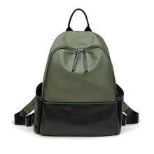 Waterproof oxford women black green backpack light weight travel casual A4 magazine shoulders school bag