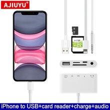 AJIUYU OTG – adaptateur USB pour Lightning dock, convertisseur pour apple iphone 11 Pro max XS XR X 8 Plus 7 6S SE audio 3.5mm, caméra MIDI Piano