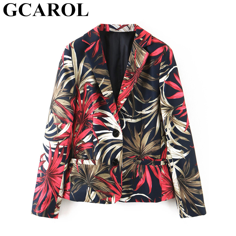 GCAROL New Women Single Button Suit Jungle Floral Leafs Notched Blazer Fall Winter Vintage Female Jacket 2019