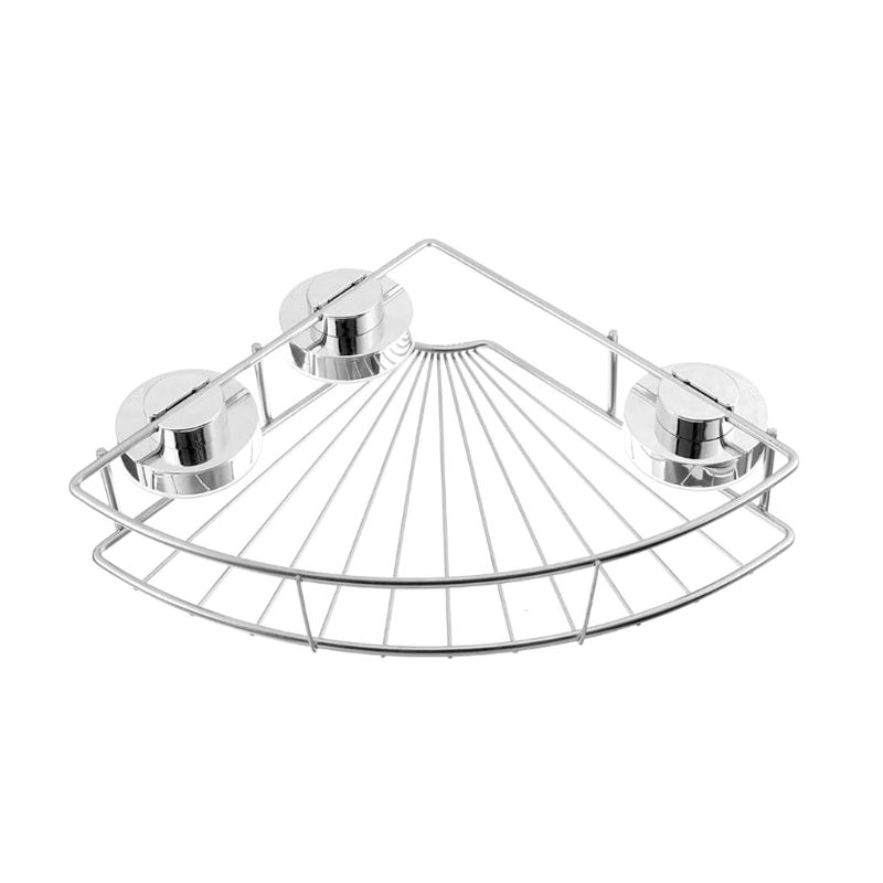 Seamless Suction Cup Rack Bathroom Kitchen Stainless Steel Wall-Mounted Tripod Storage Basket Strong Suction Cup Triangle Rack