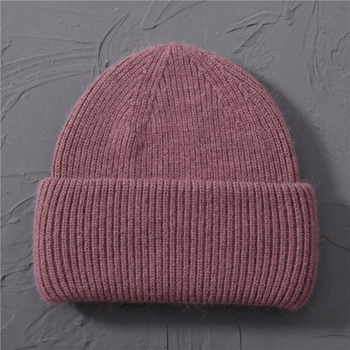 Casual Women's Hats Cashmere Wool Knitted Beanies Autumn Winter Brand New Three Fold Thick 2020 Knitted Girls Skullies Beanies 16