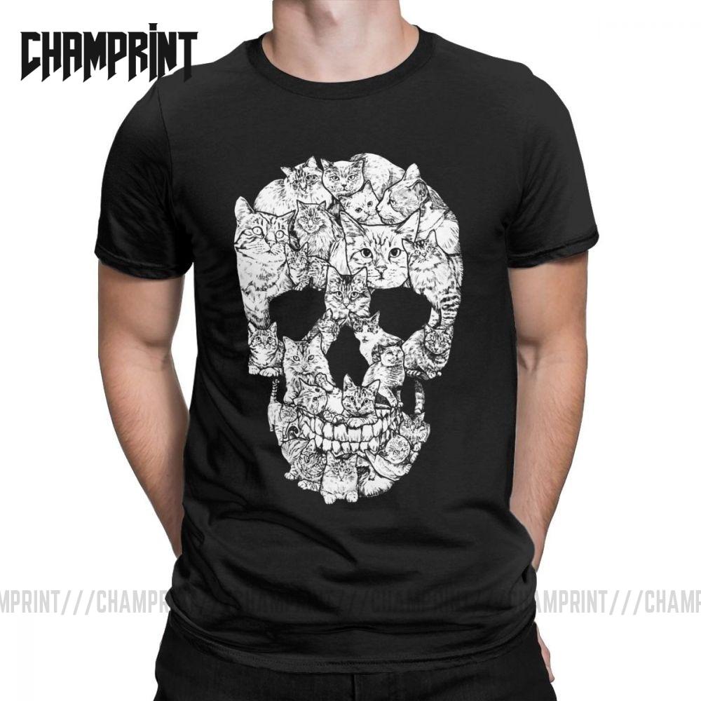 Unique Cat Skull Skeleton Horror Scary T-Shirt For Men Cotton T Shirt Kitten Goth Gothic Punk Halloween Tees Gift Idea Clothing