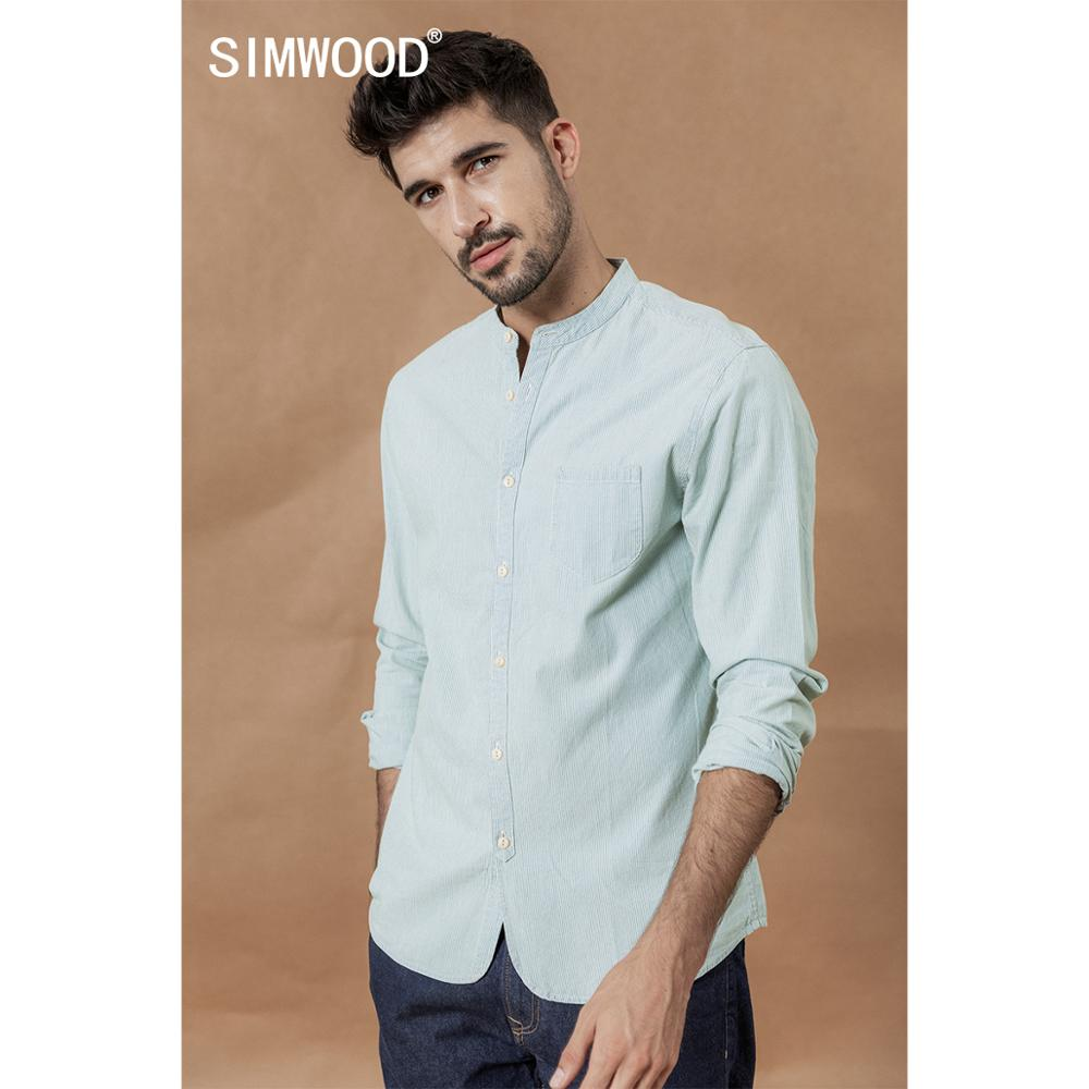 SIMWOOD Stand Collar Vertical Striped Shirts Men 100% Cotton Classical Denim Slim Fit Minimalist Casual Shirt CS135