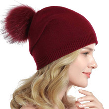Шапка с помпонами из меха норки и лисы, зимняя женская шапка, шапка для девочек, вязаные шапки, брендовая новая теплая женская шапка из толстой шерсти O22