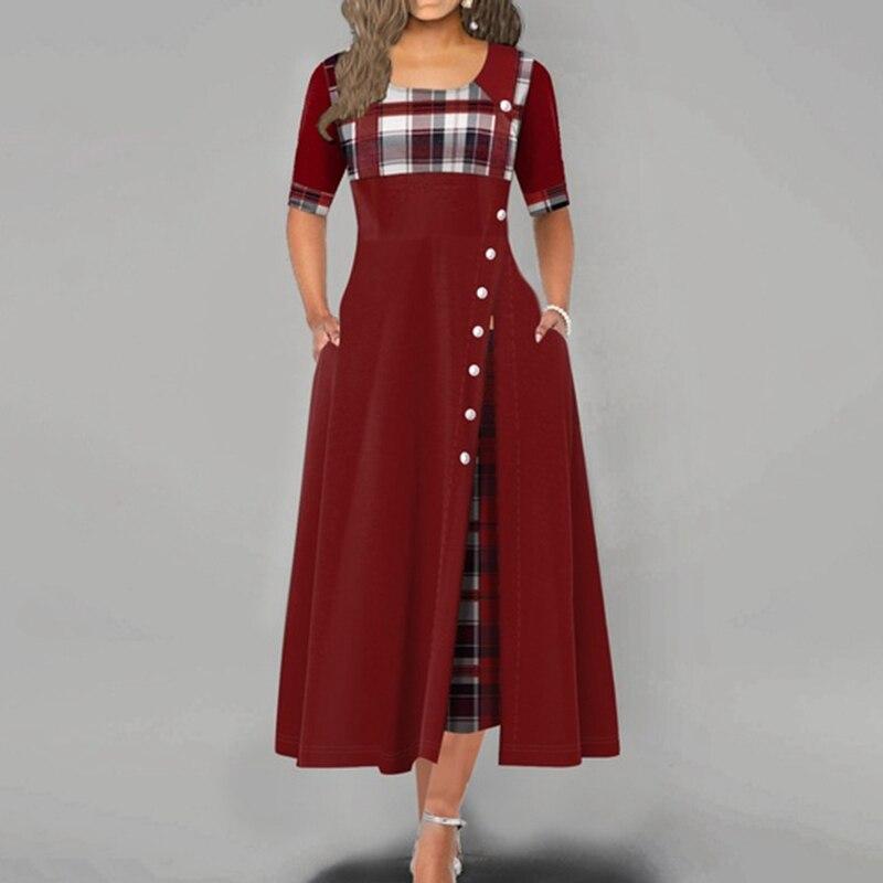 Women Maxi Dress Casual Irregular Plaid Print Button Half Sleeve Round Neck Plus Size Elegant Party Dress Female Long Vestidos