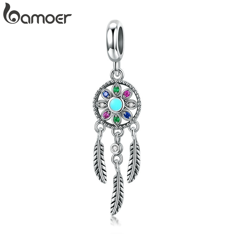 bamoer Authentic 925 Sterling Silver Bohemian Dream Catcher Pendant Charm fit Bracelet Necklace Silver DIY Jewelry Making SCC961(China)