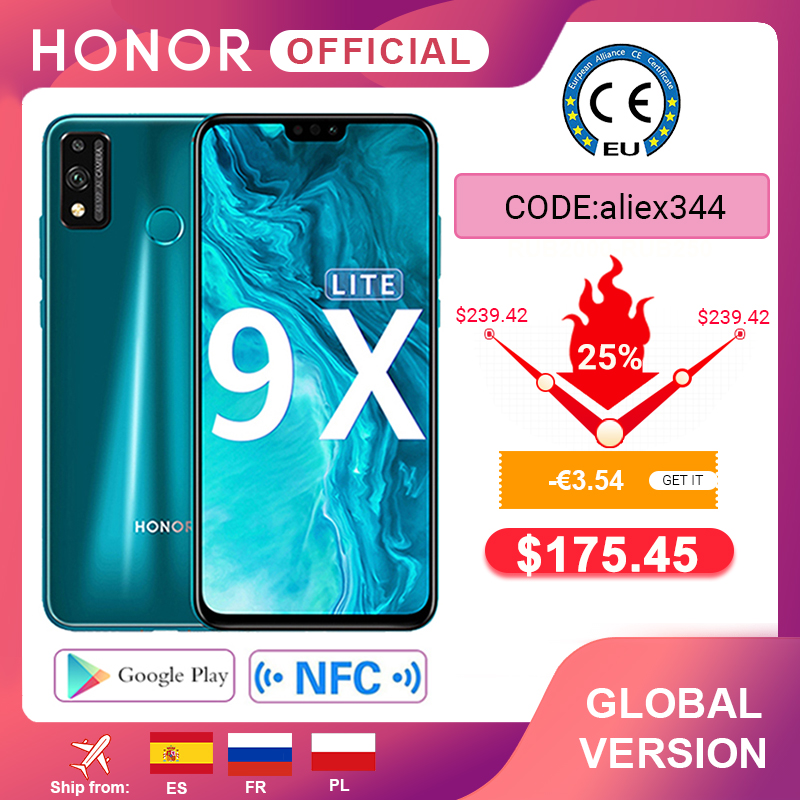 Global Version Honor 9X Lite <font><b>Smartphone</b></font> 4G 128G 48MP Camera Kirin 710 6.5'' Mobile Phone Android <font><b>P</b></font> GPU Turbo 3.0 NFC image