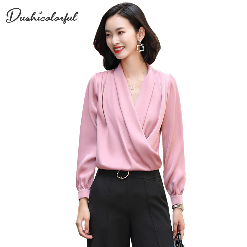 women autumn Fashion V-neck Ladies Loose Blouse Satin Fabric <font><b>Shirt</b></font> Professional Office Ladies blouse elegant Pink <font><b>wine</b></font> <font><b>red</b></font> Top image