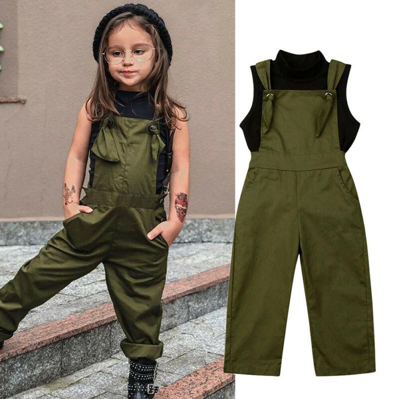 Shein Toddler Kid Baby Girl Overalls Sleeveelss ArmyGreen Jumpsuit Black Vest Top Suspender Romper 2PCS Outfits Clothes Set 2-7Y