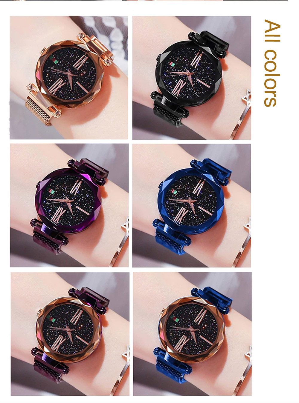 Luxury Minimalism Starry sky Magnet Rose Gold Women Watches 18