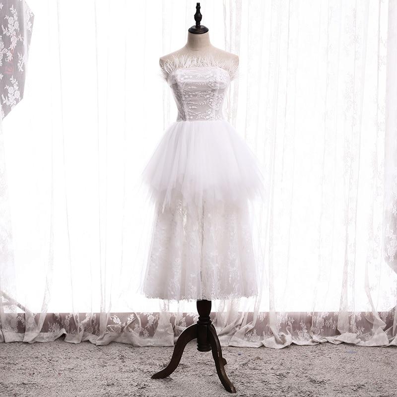 Платье для выпускного вечера без бретелек-Длина Цветочный Принт без рукавов для женщин элегантное платье-трапеция, белый; Молния сзади; Тюлевая вечерние Выходные туфли на выпускной B372