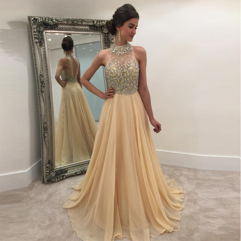 2018 Europe And America Autumn And Winter New Style Dress EBay AliExpress Hot Selling Sleeveless Sequin Halter Formal Dress Chif