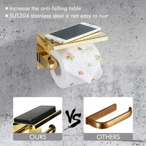 Image 3 - Stainless Steel Toilet Paper Holder with phone shelf bathroom toilet roll paper holder Bathroom Accessories simple design