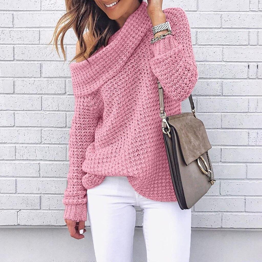 Women Shoulder Knitting Sweater  1