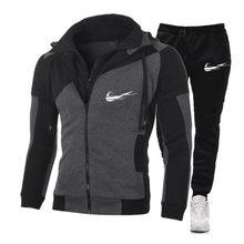 Moda de alta qualidade terno dos esportes dos homens com capuz + calças terno casual dos esportes dos homens