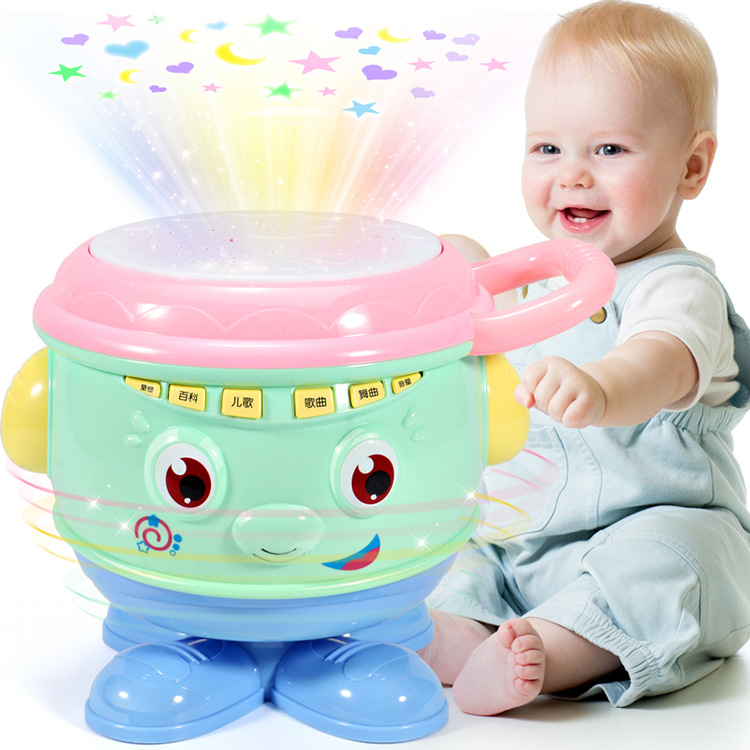 Infants Kids Music Drum Children Music Hand Drum Light Electronic Drum Early Childhood Educational GIRL'S And BOY'S Toy