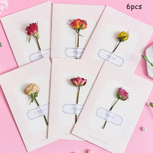 6pcs 14.8x10cm Rose Dried Flowers Invitations Postcards Wedding Party Festival Blessing Small Card