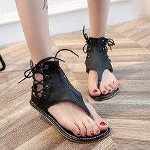 Women Matt Leather Sandals Vintage Rome Style Flip Flop Covered Heel Flat Beach