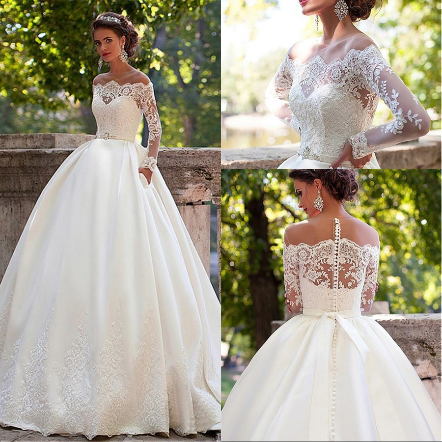 2019 New O-Neck Satin Tulle With Applique Lace Sweep Train A-line Long Sleeve Wedding Dresses With Pocket Vestido De Noiva