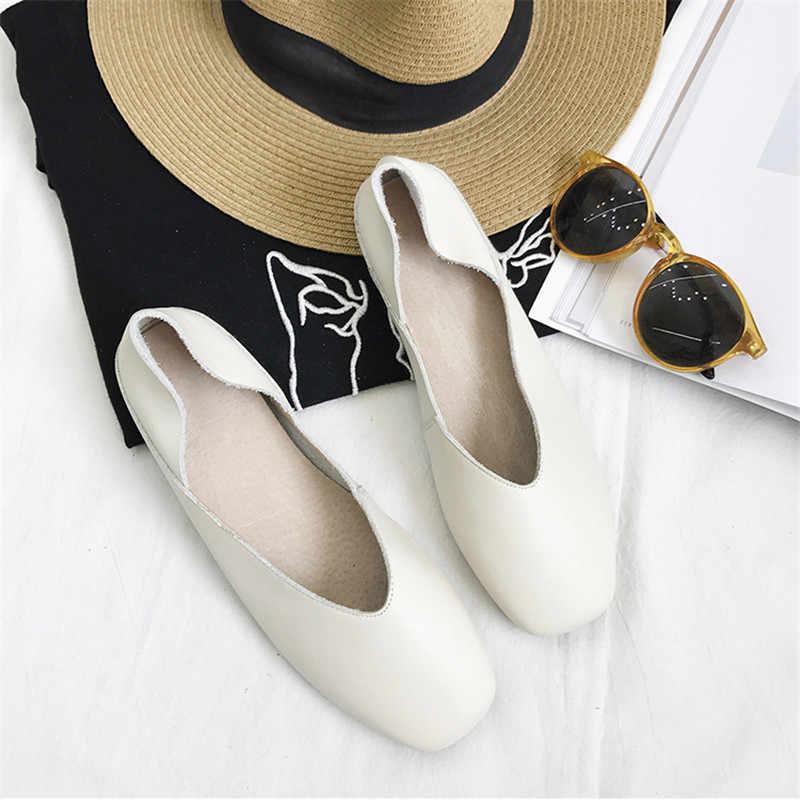 Mới 2020 Độn Đế Phẳng Chất Lượng Hàng Đầu Flat Genuien Da Cho Nữ Vuông Mũi Giày Ballet Flat Lớn size 40
