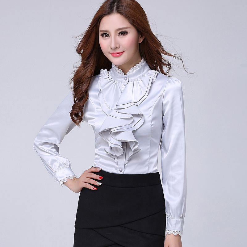 2020 Big Size Silk Satin Blouse Formal blouses Ladies Office Shirts Women Office Uniform Ruffle Blouses White Shirts Women Tops