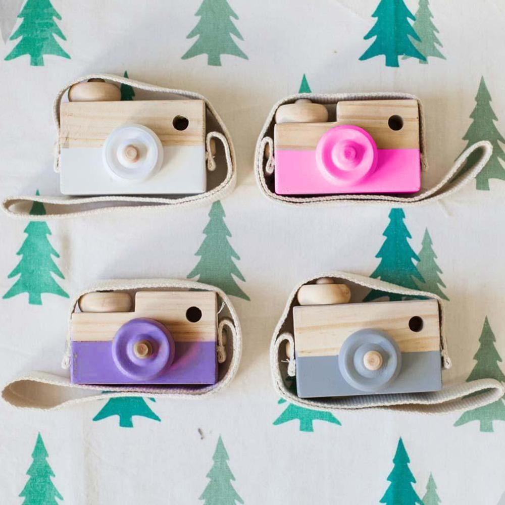 Mini Wooden Camera Cute Cartoon Baby Toy Kid Creative Neck Camera Photography Prop Decoration Educational Children Playing House