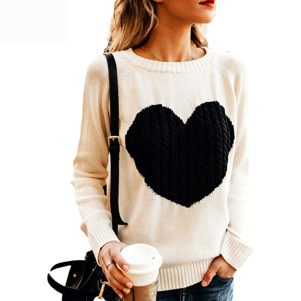 2020 Autumn Winter Women Sweaters Heart Pattern Printed Long Sleeve Tops O-Neck Lovely Pullovers Knitted Loose Sweaters Tops