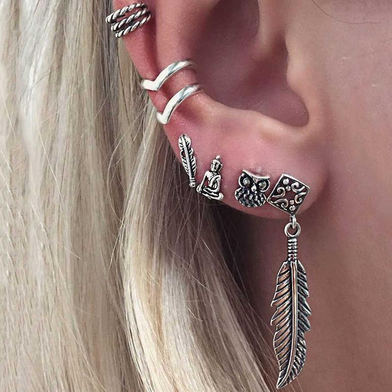 ヴィンテージイヤリングセットパンクスタイル仏フクロウ葉イヤリング女性ボヘミアン V 形の耳のクリップのスタッドのイヤリング 6 ピース/セット z5D280