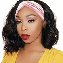 Объемная волна парик с оголовьем синтетический парик с головной повязкой для черный Для женщин не Кружева передние парики 10 12 14 дюймов нату...