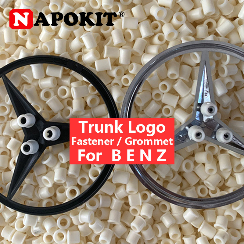6Pcs Trunk Logo Sticker Emblem Fastener Grommet For <font><b>Mercedes</b></font> <font><b>Benz</b></font> E C GL ML S A Class W124 W203 <font><b>W210</b></font> GLK GLC AMG Car <font><b>Accessories</b></font> image