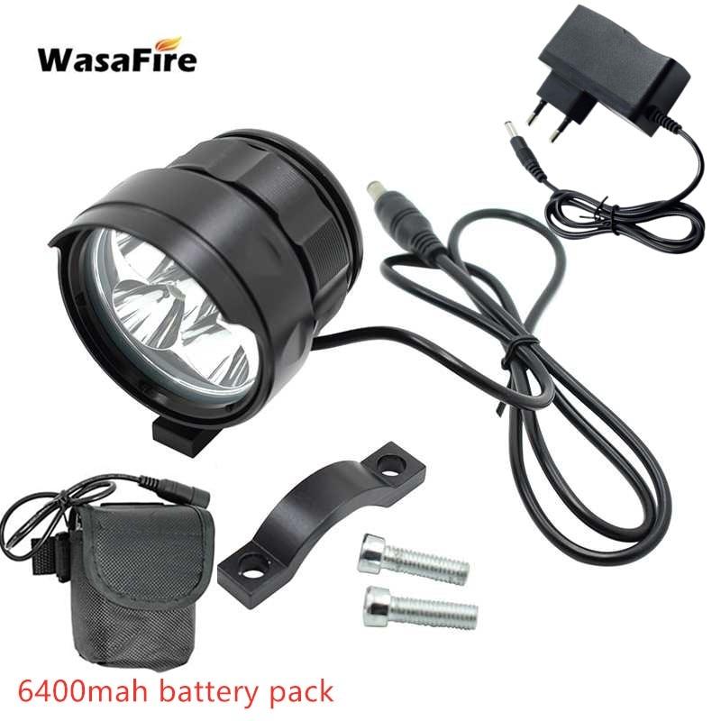 WasaFire 5x XM-L T6 LED Bicycle Light 7000LM Front Bike Light Cycling MTB Headlight Headlamp + 6400/9600mAh 18650 Battery pack