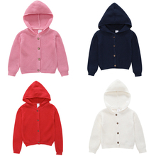 2019 New Baby Girl Winter Clothes Solid Color Knit Hooded Sweater Boy Warm Button