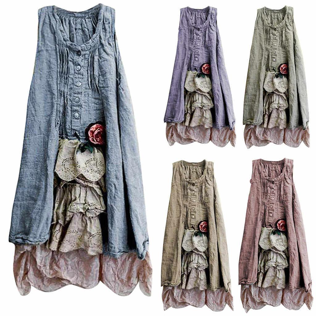 Vintage plus size moda feminina o pescoço sleevelss pachwork botton tank top vestido de verão feminino elegante vestido 2019 popular