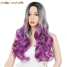 AISI HAIR Long Wavy Grey Purple Ombre Wig for Women Synthetic Wig Heat Resistant Dark Roots Three Tone Women Natural Hair Wigs long glueless synthetic ombre light blue wig dark roots heat resistant natural looking wavy synthetic lace front wigs for women