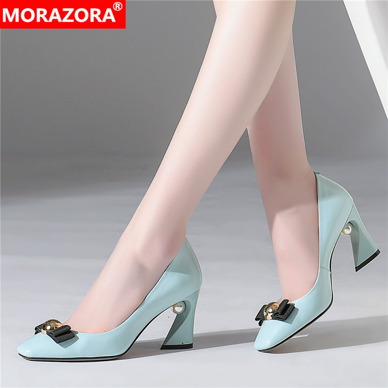 MORAZORA Summer High Heels Shoes Woman Genuine Leather Party Wedding Shoes Fashion Square Toe Bowknot Women Pumps Size 33-43