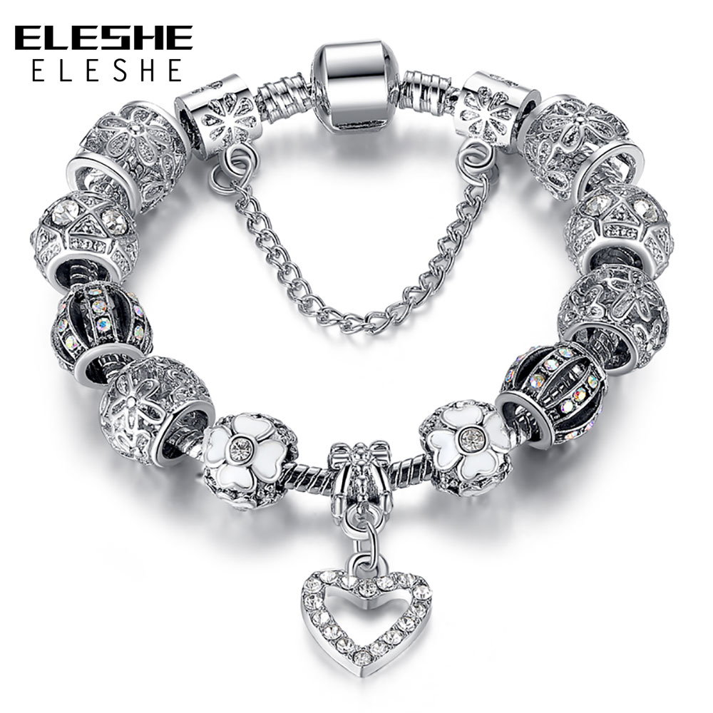 ELESHE Fashion Silver Color Heart Charms Bracelet Bangle for Women DIY Crystal Beads Fit Original Bracelets Women Jewelry