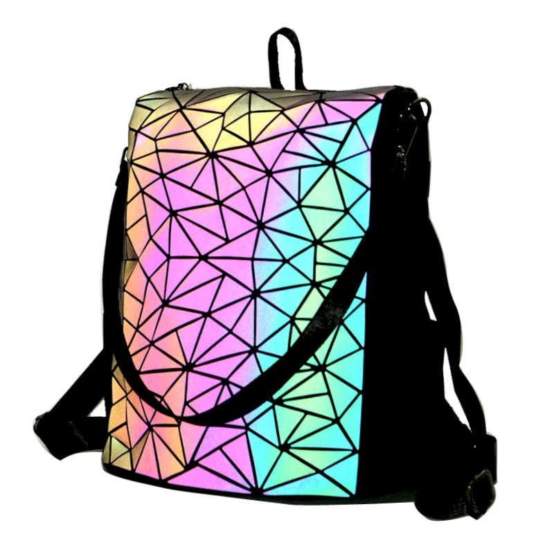 Geometryczny fluorescencyjny tenis feminino plecak na co dzień zestaw Luminous Woman modne torby i torebka holograficzny piterek