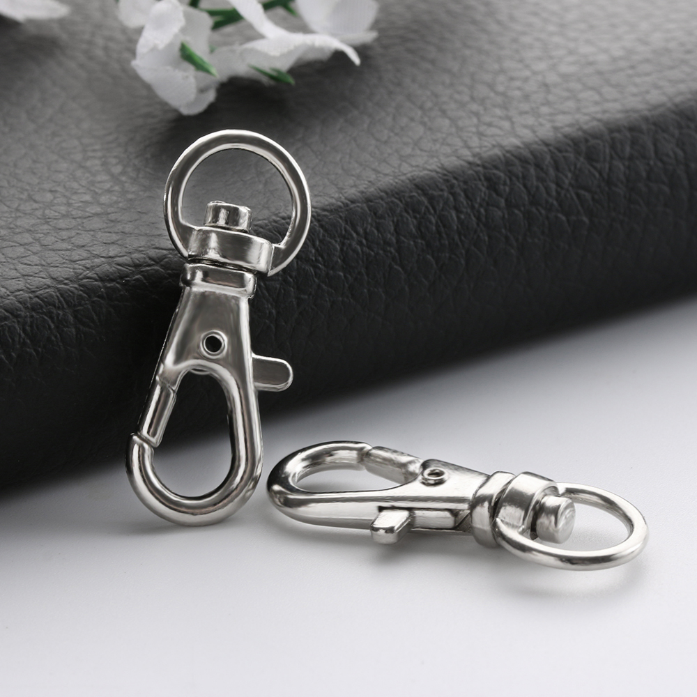 5/10Pcs Wholesale Silver Rhodium Lobster Clasp Clips Key Hook Keychain Split Key Ring Findings Clasps For DIY Keychains Making