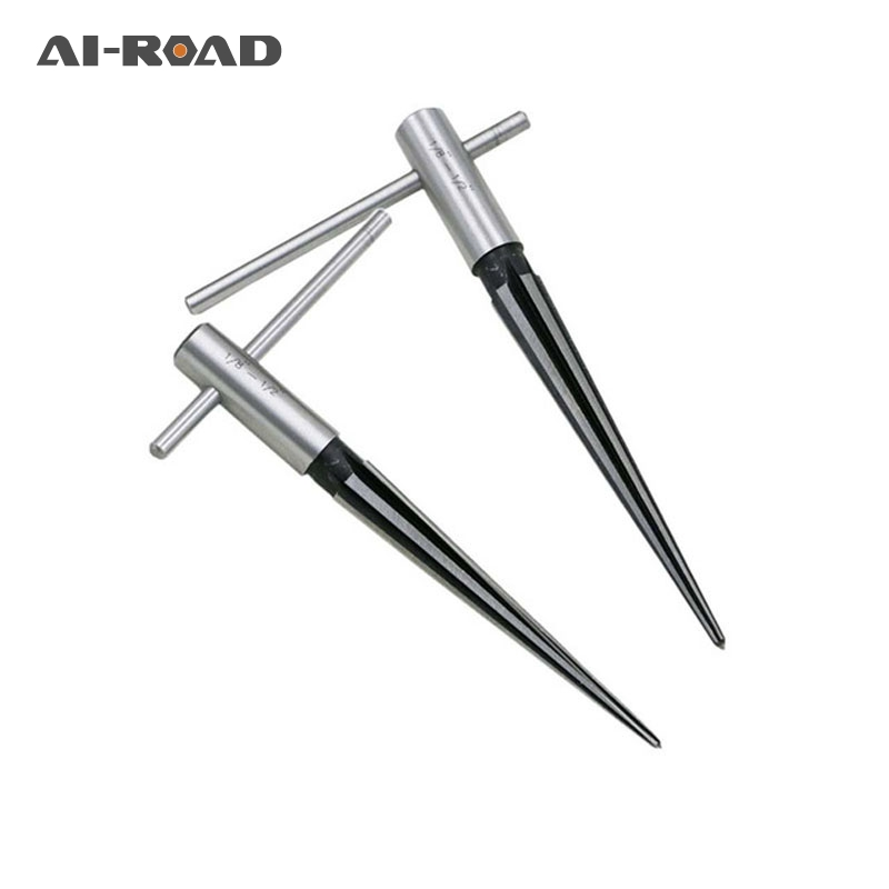 3-13mm 6 Fluted Bridge Pin Hole Reamer Tapered Woodworker Cutting Tool Pin Hole Handheld Reamer T Handle Tapered Chamfer Reaming
