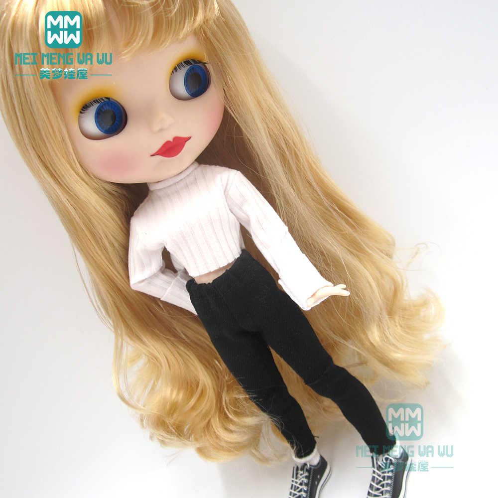 인형 용 옷 blyth azone ob24 ob27 1/6 인형 accessroies 패션 스웨터, 검은 색 구멍 바지