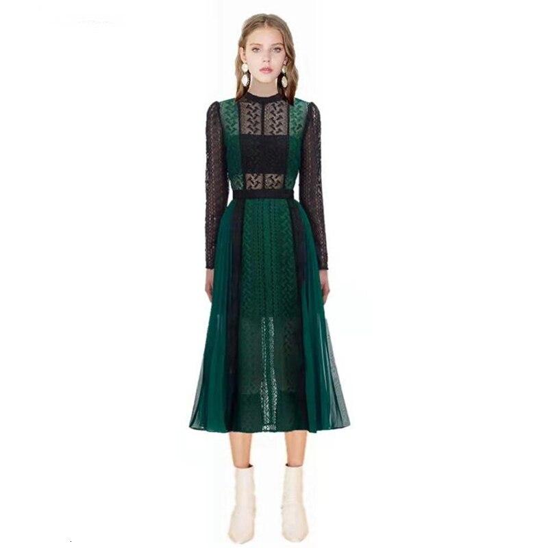 Luxe piste Designer auto Portrait robe 2019 automne mode dentelle épissure évider longue robe femmes partie nuit Femme Vestido