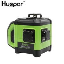 Huepar 12 линий 3D зеленый перекрестный лазерный уровень самонивелирующийся 360 градусов по вертикали и горизонтали с новым лазерным приемник уровня