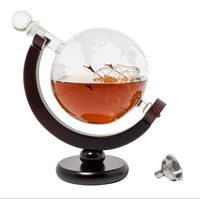 850ML Whiskey Decanter Antique Ship Whiskey Dispenser For Liquor Scotch Bourbon Vodka Globe Decanter With Finished Wood Stand