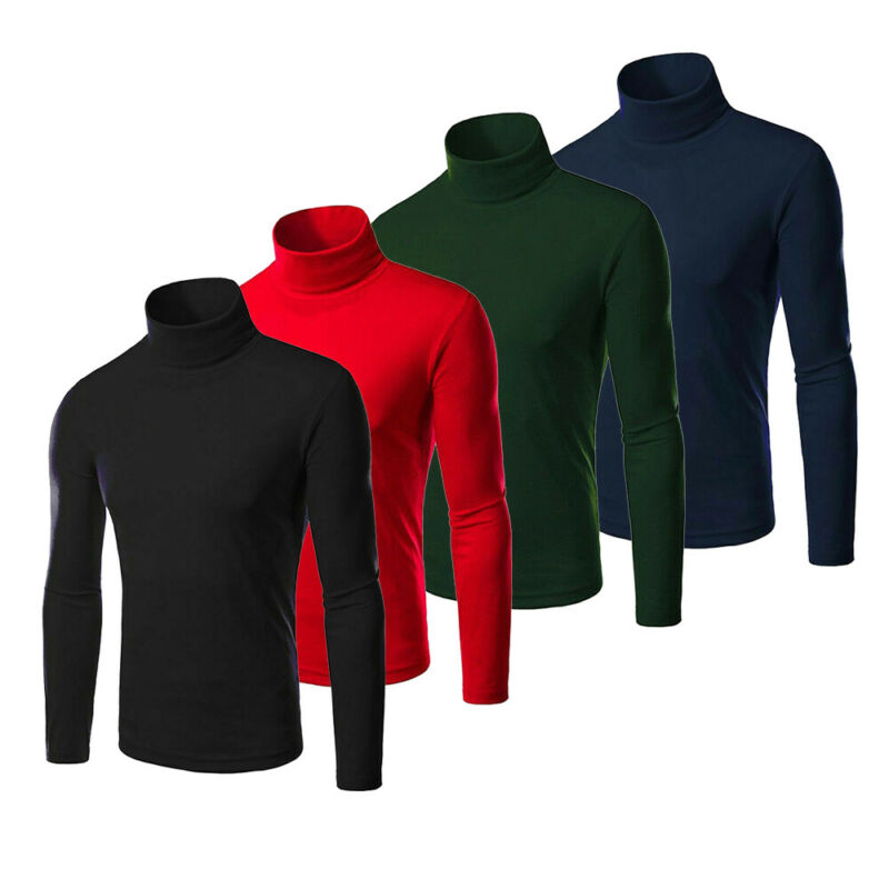 Men's Casual Turtleneck Long Sleeve Kintted Sweater Stretch Warm Jumper Pullovers Autumn Winter Basic Tops