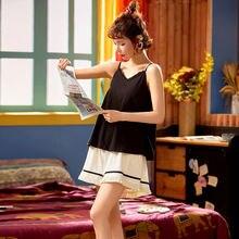 Пижама на бретельках и шорты женская летняя хлопковая тонкая