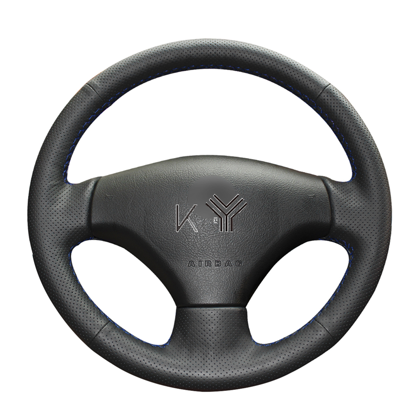 Kunbaby Hand-stitched Black Artificial Leather Car <font><b>Steering</b></font> <font><b>Wheel</b></font> Covers for <font><b>Peugeot</b></font> 206 2007-2009 <font><b>Peugeot</b></font> <font><b>207</b></font> Citroen C2 image