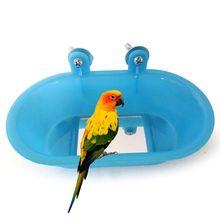 Птица горшки для купания Маленький попугай Ванна игрушка с зеркалом для тигровой кожи пион может фиксироваться декор для клетки Y5GB